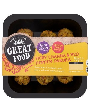M3 Distribution Services Great Food Fiery Channa & Red Pepper Pakora Bites 90g