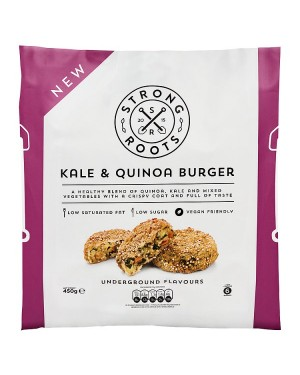 M3 Distribution Services Irish Food Wholesaler Strong Roots Kale & Quinoa Burgers (12x450g)