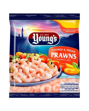M3 Distribution Services Irish Food Wholesaler Youngs Cooked & Peeled Prawns (12x180g)