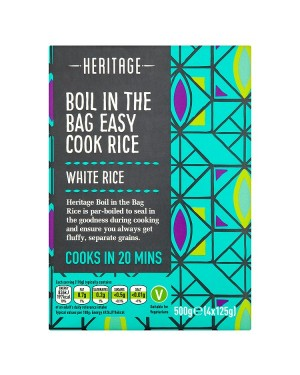 M3 Distribution Services Wholesale Food Heritage Boil in the Bag Easy Cook Rice 500g (4x125g)