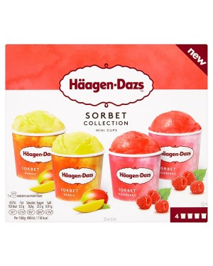 M3 Distribution Services Irish Food Wholesaler Haagen-Dazs Sorbet Collection Mini Cups 4pack (12x400ml)