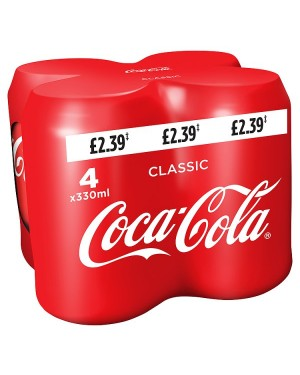 M3 Distribution Services Irish Food Wholesaler Coke Regular 4pack PM£2.39 (6x4x330ml)