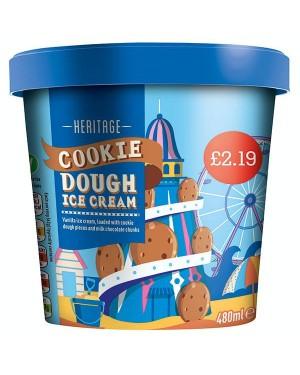 M3 Distribution Services Irish Food Wholesaler Heritage Cookie Dough Ice Cream PM£2.19 (6x480ml)