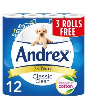 M3 Distribution Services Irish Food Wholesaler Andrex Classic Clean Toilet Tissue (3x12Rolls)