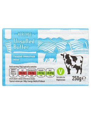 M3 Distribution Services Irish Food Wholesaler Heritage Unsalted Butter (20x250g)