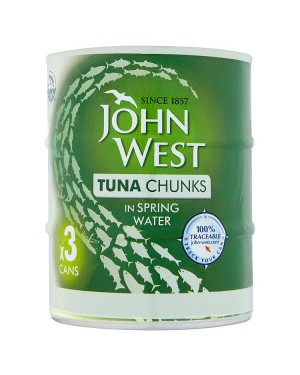 M3 Distribution Services Irish Food Wholesaler John West Tuna Chunks in Spring Water (12x3x145g)