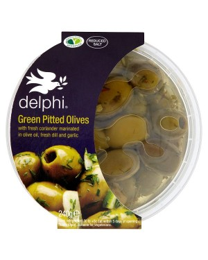 M3 Distribution Services Delphi Green Pitted Olives with Coriander, Dill & Garlic