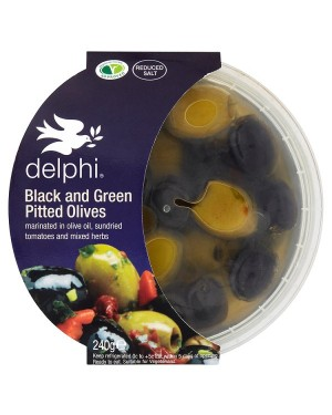 M3 Distribution Services Delphi Black and Green Pitted Olives