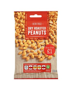 M3 Distribution Irish Wholesale Food Distributor Heritage Dry Roasted Peanuts 80g PM2forÃ'Ãâ€Ã