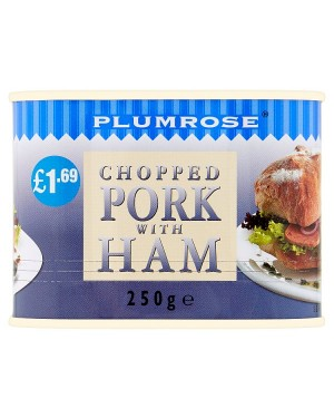 M3 Distribution Services Irish Food Wholesaler Plumrose Chopped Pork with Ham PM£1.69 (6x250g)