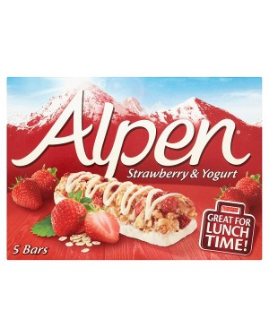 M3 Distribution Services Irish Food Wholesaler Alpen Strawberry & Yoghurt Cereal Bars 5pack