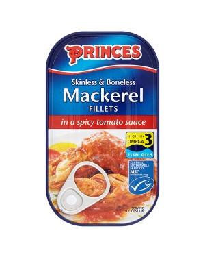 M3 Distribution Bulk Irish Wholesale Food Princes Mackerel Fillets in Spicy Tomato Sauce 125g