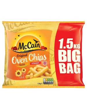 M3 Distribution McCain Straight Cut Oven Chips 1.5Kg Big Bag