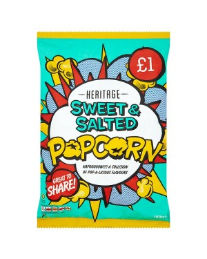 M3 Distribution Irish Wholesale Food Distributor Heritage Popcorn Sweet & Salted 100g PMÃ'Ãâ€Ã