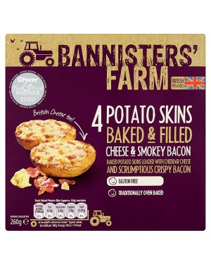 M3 Distribution Bannisters' Farm 4 Potato Skins - Cheese and Smokey Bacon