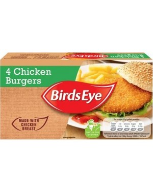 M3 Distribution Services Irish Food Wholesaler Birds Eye 4 Chicken Burgers (12x200g)